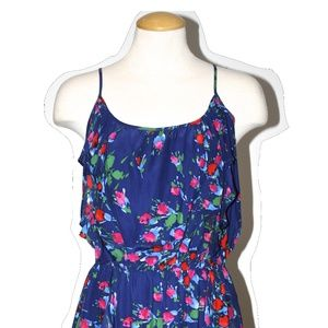 PARKER BLUE FLORAL PRINT SILK DRESS SIZE SMALL
